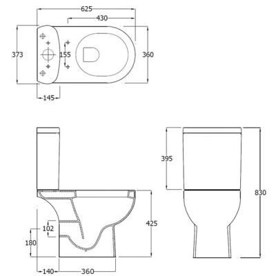 RAK Tonique Close Coupled Open Back WC and Soft Close Seat